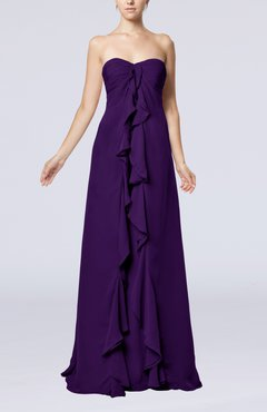 Royal Purple Simple Empire Sweetheart Zip up Chiffon Sweep Train Wedding Guest Dresses