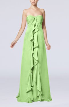 Sage Green Simple Empire Sweetheart Zip up Chiffon Sweep Train Wedding Guest Dresses