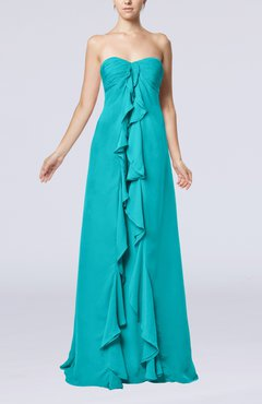 Teal Simple Empire Sweetheart Zip up Chiffon Sweep Train Wedding Guest Dresses