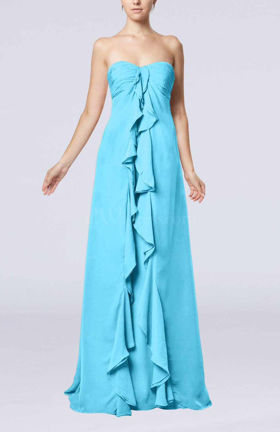 Turquoise simple empire sweetheart zip up chiffon sweep for Turquoise wedding guest dress