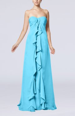 Turquoise Simple Empire Sweetheart Zip up Chiffon Sweep Train Wedding Guest Dresses