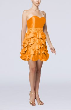 Orange Sexy A-line Sleeveless Backless Taffeta Prom Dresses