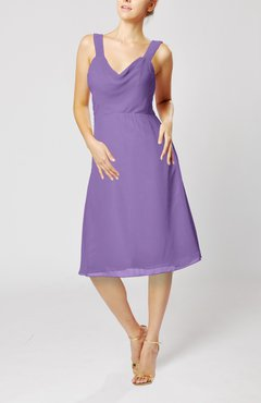 Lilac Plain Thick Straps Sleeveless Chiffon Knee Length Bridesmaid Dresses