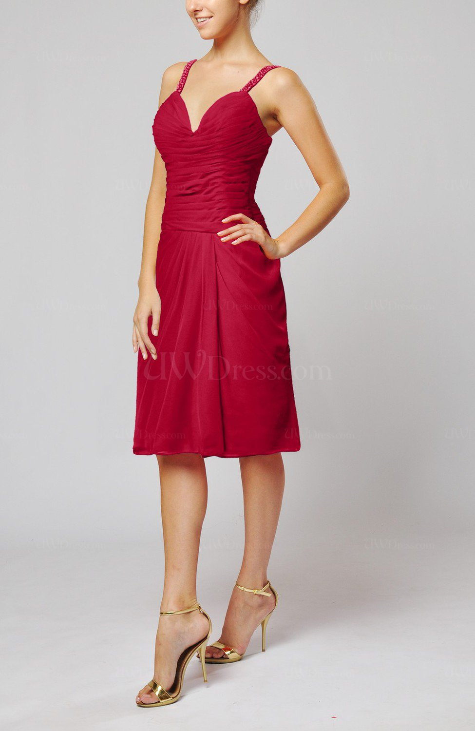 dark red plain sleeveless backless chiffon ruching wedding ForBackless Wedding Guest Dresses