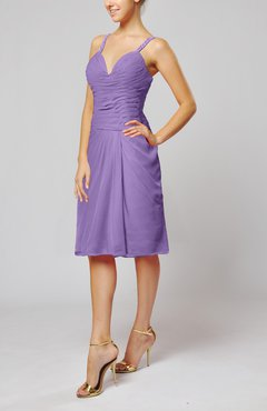 Lilac Plain Sleeveless Backless Chiffon Ruching Wedding Guest Dresses