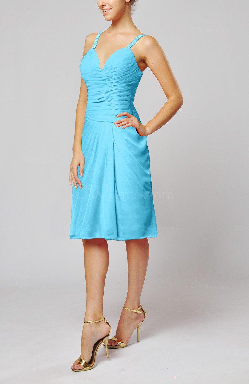 Turquoise plain sleeveless backless chiffon ruching for Turquoise wedding guest dress