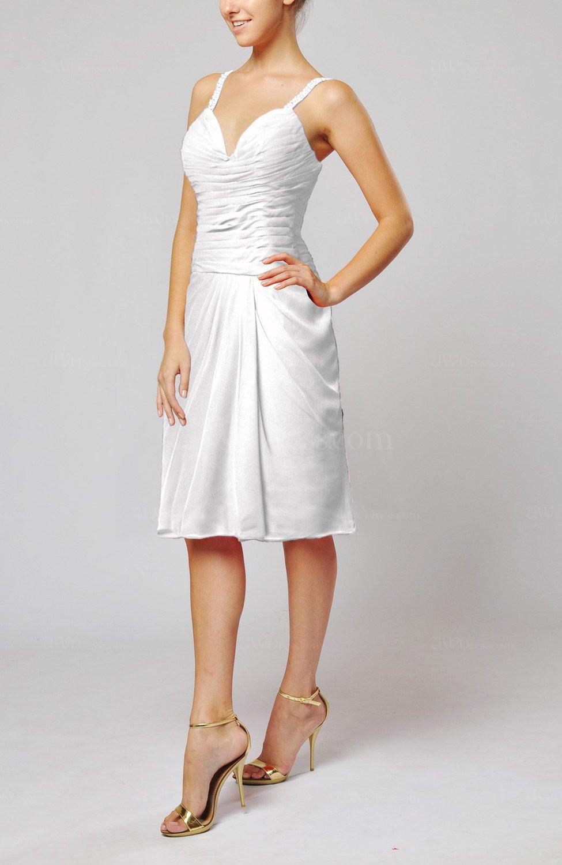 White Plain Sleeveless Backless Chiffon Ruching Wedding ...