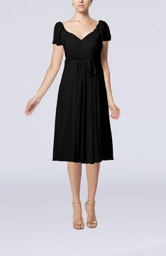 Black Plain Empire Queen Elizabeth Short Sleeve Chiffon Knee Length Party Dresses