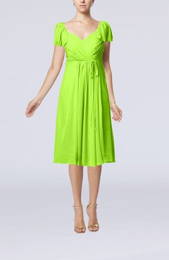 Bright Green Plain Empire Queen Elizabeth Short Sleeve Chiffon Knee Length Party Dresses