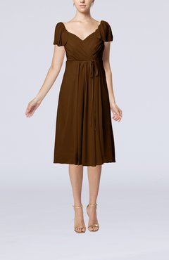 Brown Plain Empire Queen Elizabeth Short Sleeve Chiffon Knee Length Party Dresses