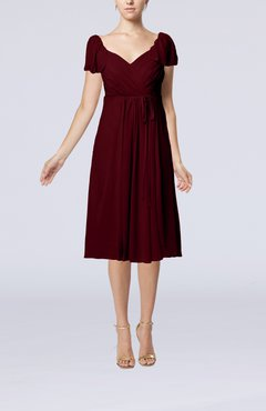Burgundy Plain Empire Queen Elizabeth Short Sleeve Chiffon Knee Length Party Dresses