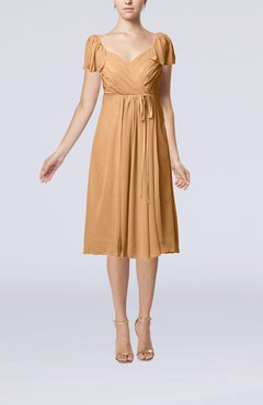 Burnt Orange Plain Empire Queen Elizabeth Short Sleeve Chiffon Knee Length Party Dresses