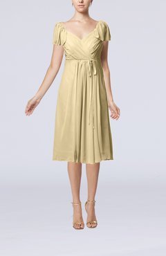Champagne Plain Empire Queen Elizabeth Short Sleeve Chiffon Knee Length Party Dresses