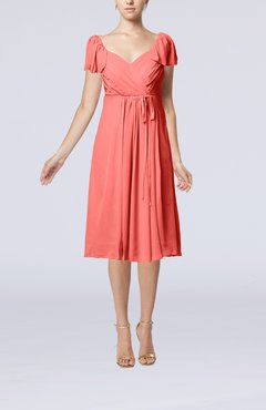 Coral Plain Empire Queen Elizabeth Short Sleeve Chiffon Knee Length Party Dresses