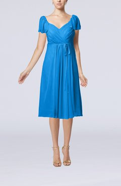 Cornflower Blue Plain Empire Queen Elizabeth Short Sleeve Chiffon Knee Length Party Dresses