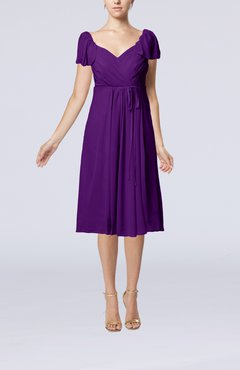 Dark Purple Plain Empire Queen Elizabeth Short Sleeve Chiffon Knee Length Party Dresses