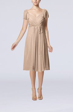 Dusty Rose Plain Empire Queen Elizabeth Short Sleeve Chiffon Knee Length Party Dresses