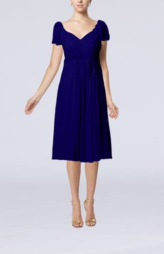 Electric Blue Plain Empire Queen Elizabeth Short Sleeve Chiffon Knee Length Party Dresses