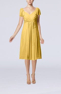 Gold Plain Empire Queen Elizabeth Short Sleeve Chiffon Knee Length Party Dresses