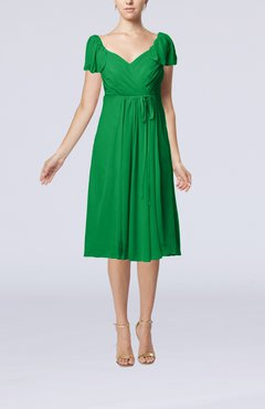 Green Plain Empire Queen Elizabeth Short Sleeve Chiffon Knee Length Party Dresses