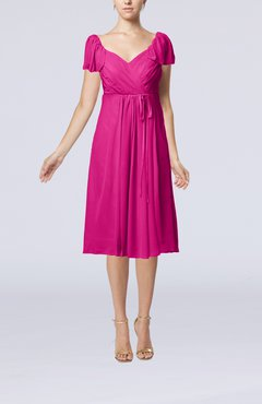 Hot Pink Plain Empire Queen Elizabeth Short Sleeve Chiffon Knee Length Party Dresses
