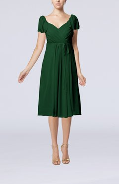 Hunter Green Plain Empire Queen Elizabeth Short Sleeve Chiffon Knee Length Party Dresses