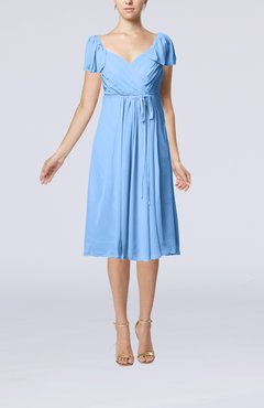 Light Blue Plain Empire Queen Elizabeth Short Sleeve Chiffon Knee Length Party Dresses