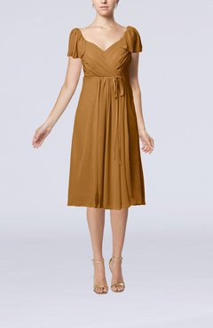 Light Brown Plain Empire Queen Elizabeth Short Sleeve Chiffon Knee Length Party Dresses