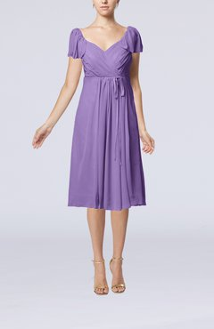 Lilac Plain Empire Queen Elizabeth Short Sleeve Chiffon Knee Length Party Dresses