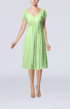 Pale Green Plain Empire Queen Elizabeth Short Sleeve Chiffon Knee Length Party Dresses