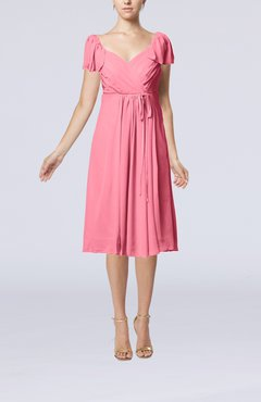 Pink Plain Empire Queen Elizabeth Short Sleeve Chiffon Knee Length Party Dresses