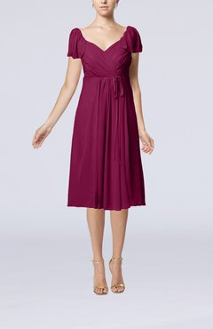 Raspberry Plain Empire Queen Elizabeth Short Sleeve Chiffon Knee Length Party Dresses
