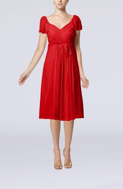 Red Plain Empire Queen Elizabeth Short Sleeve Chiffon Knee Length Party Dresses
