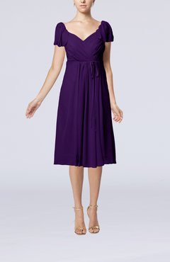Royal Purple Plain Empire Queen Elizabeth Short Sleeve Chiffon Knee Length Party Dresses