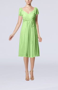 Sage Green Plain Empire Queen Elizabeth Short Sleeve Chiffon Knee Length Party Dresses