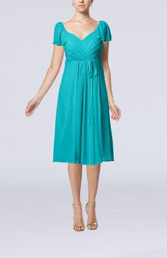 Teal Plain Empire Queen Elizabeth Short Sleeve Chiffon Knee Length Party Dresses