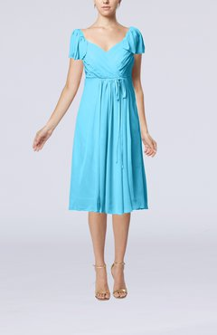 Turquoise Plain Empire Queen Elizabeth Short Sleeve Chiffon Knee Length Party Dresses