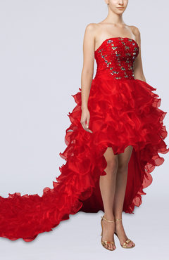Red Sexy A-line Strapless Hi-Lo Ruffles Evening Dresses