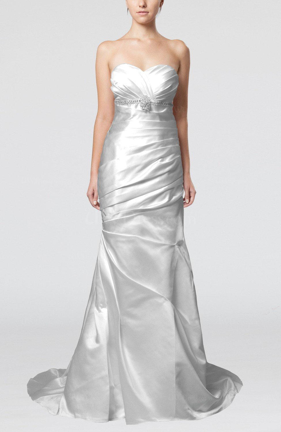 Silver classic outdoor fit n flare sleeveless satin court for Silver beaded wedding dress