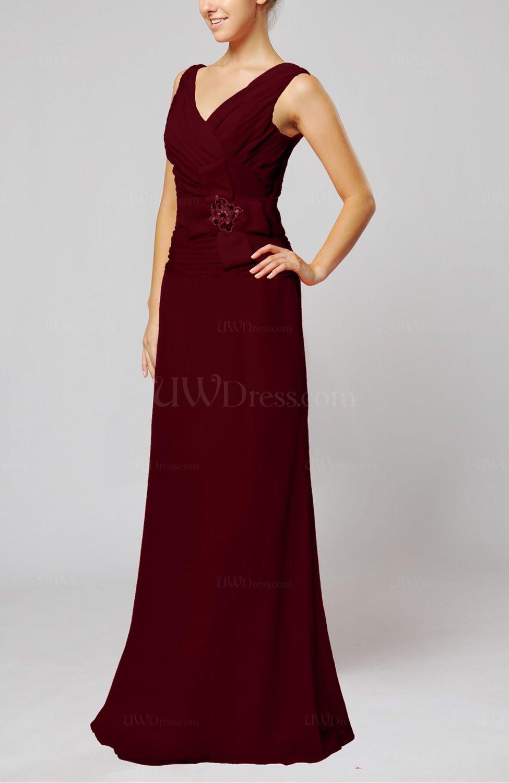 Burgundy elegant sleeveless zip up floor length ribbon for Burgundy dress for wedding guest