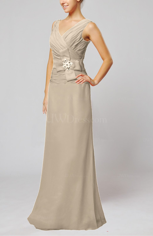 Cream elegant sleeveless zip up floor length ribbon for Elegant guest wedding dresses