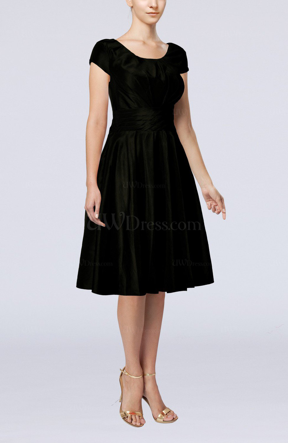 Black simple a line scoop short sleeve taffeta knee length for Knee length wedding dresses with sleeves