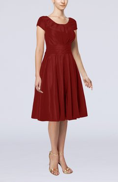 Burgundy Simple A-line Scoop Short Sleeve Taffeta Knee Length Wedding Guest Dresses
