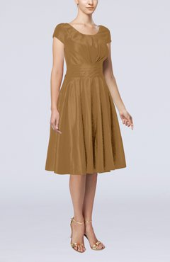 Cinnamon Simple A-line Scoop Short Sleeve Taffeta Knee Length Wedding Guest Dresses