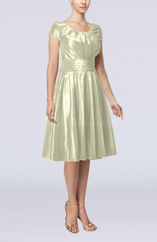 Cream simple a line scoop short sleeve taffeta knee length for Simple cream wedding dresses