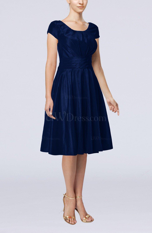 Dark blue simple a line scoop short sleeve taffeta knee for Knee length dresses for wedding guests