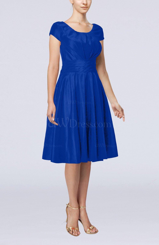 Electric Blue Simple A Line Scoop Short Sleeve Taffeta Knee Length Wedding Guest Dresses