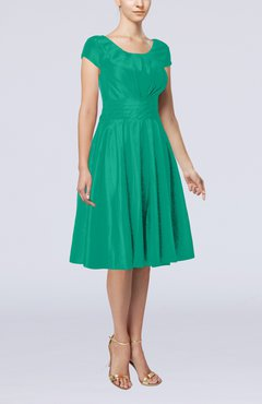 Emerald Green Simple A-line Scoop Short Sleeve Taffeta Knee Length Wedding Guest Dresses
