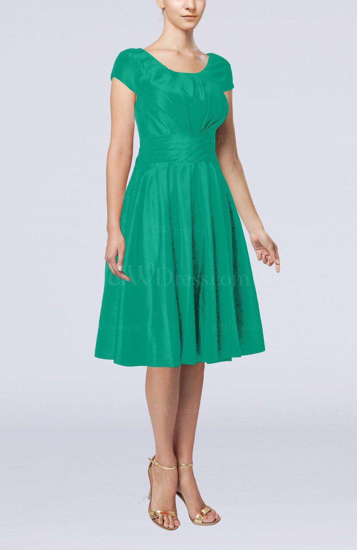 Emerald Green Simple A-line Scoop Short Sleeve Taffeta Knee Length ...