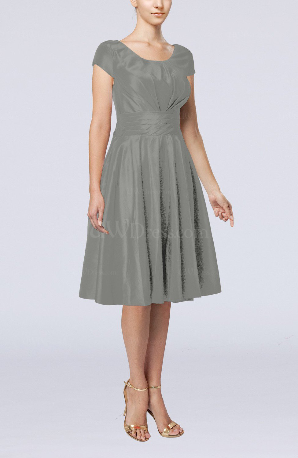 Frost grey simple a line scoop short sleeve taffeta knee for Gray dresses for a wedding